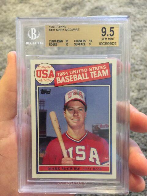 1985 Topps Mark Mcgwire Rookie Card Bgs 9.5 Gem Mint With3 10s Very Rare