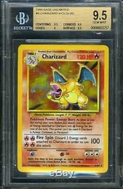 1999 Pokemon 4/102 Charizard Holographic Holo Foil Beckett Bgs 9.5 Gem Mint Rare