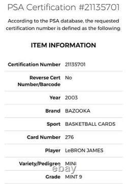 2003 Bazooka MINI LeBron James ROOKIE RC #276 Cavs PSA 9 MINT Very Rare