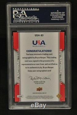 2009 U. D. Bryce Harper USA Baseball # USA 83 Mint Cond. (. Very Rare Auto)