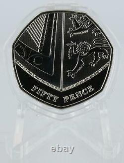 2016 50p Shield Coin from Royal Mint Set Very Rare BU 7 sided capsule