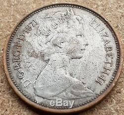 A Very Rare Mint Error 2 pence coin 1971 in Silver Color
