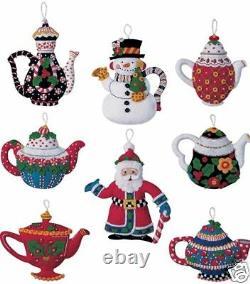 Bucilla Mary ENGELBREIT Santa CHRISTMAS TEAPOTS Felt Ornaments Kit- 85018 Mint