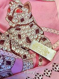 CARTIER Signed 100% Silk JEWELED PANTHER Scarf in PINK Very Very RARE withTag MINT