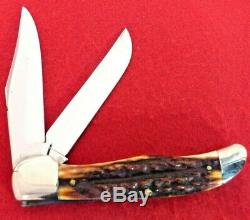 Case XX mint 1940-64 VERY RARE 5265 Pretty RED Stag folding hunter knife