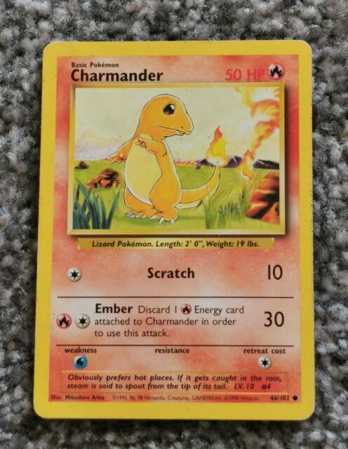 Charmander 46/102 Pokemon Card, Very Rare Near Mint Condition Base Set Unlimited