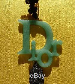 Christian Dior FABULOUS VERY RARE Jade Coloured Fringed Earrings. NEW MINT
