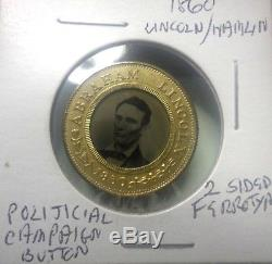 Ferrotype Token Campaign Pin Abraham Lincoln/ Hamlin 1860 Mint Au/unc Very Rare