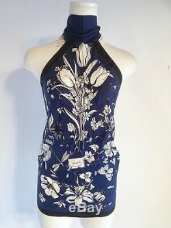 GUCCI VERY RARE & MINT! Flora Floral Print Silk 100 Scarf Top Navy