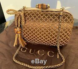 Gucci bamboo clutch! Limited! Very Rare Gold Shoulder Strap Mint