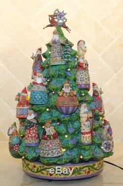 Jim Shore Christmas Santa Ornament Danbury Mint Tree with Box Light up VERY RARE