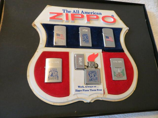 Lot Of 6 Lighters Very Super Rare Zippo Lighter Collection Set 1976 With Display