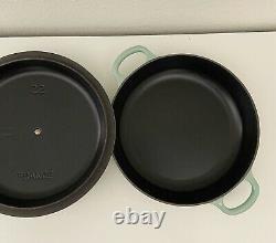 Le Creuset 1.5qt Cool Mint Braiser with Black Enamel Very Rare