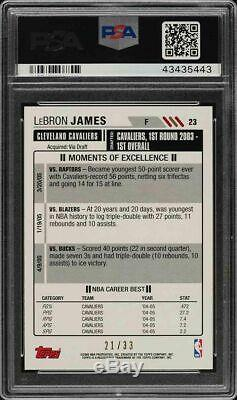 Lebron James 2005 Topps Big Game # 23 Blue Refractor 21/33 Psa 9 Mint Very Rare