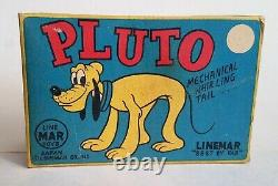 Linemar Marx Disney Pluto Tin Wind Up Toy Near Mint In the Box 1950s Very RARE