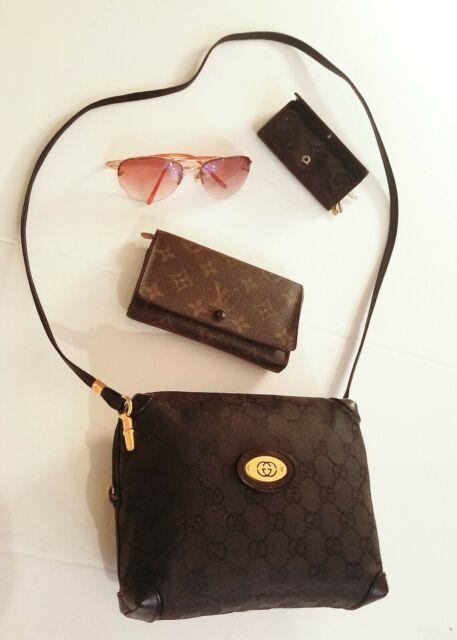 Mint Very Rare Auth Gucci Monogram Gg Black Box Shoulder Crossbody Bag