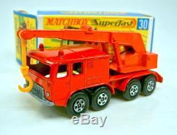 Matchbox SF No. 30A 8 Wheel Crane red body ORANGE boom very rare mint/boxed