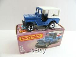 Matchbox Superfast 5c US Mail Jeep (No5 Base) Very Rare BLACK BASE Mint/Boxed
