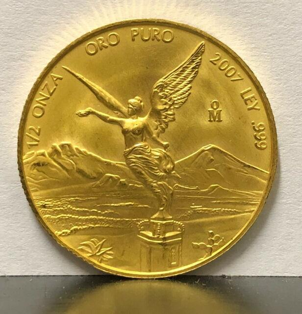 Mexico 2007 Gold 1/2 Onza-only 500 Minted-very Very Rare Coin-as Scan Shows