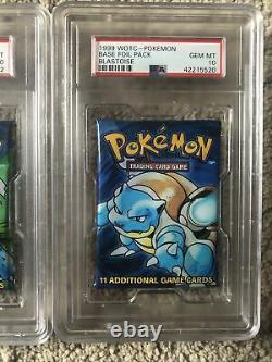 PSA 10 Gem Mint Pokemon Base Set 1 Booster Packs x 3 All Artworks Very Rare