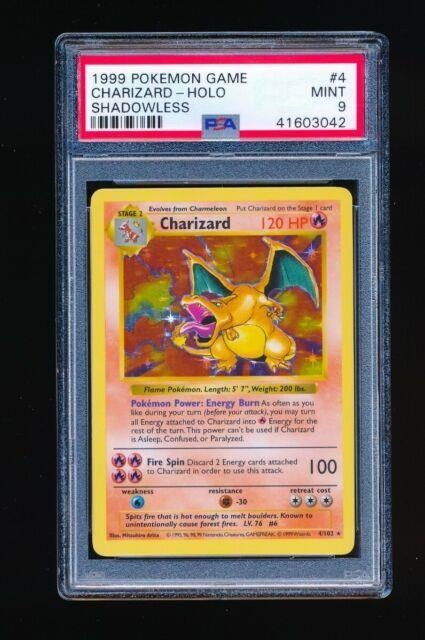 Psa 9 Charizard 1999 Pokemon Game Holo Shadowless Parallel 4/102 Mint Very Rare