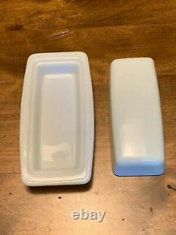 Pyrex Very Rare HTF 1980 Winter Frost White Opal Covered Butter Dish Mint