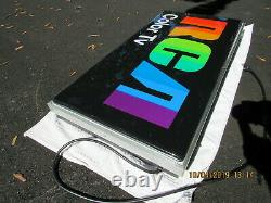 RCA COLOR TV 60s LIGHT UP SPECTRUM TRADE SIGN 39x19 N MINT WORKS VERY RARE