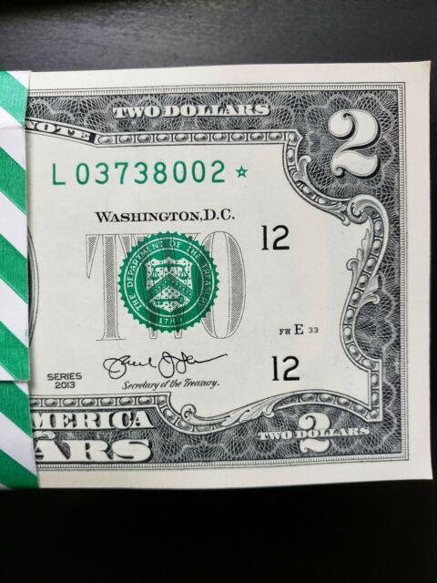 Star Note $2 Dollar Bills (very Rare), San Francisco 2013, Uncirculated Mint