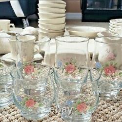 Set of 64 Pfaltzgraff Tea Rose Mint Condition Vintage RETIRED Very RARE & Unique