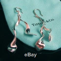 Tiffany & Co Very Rare! Frank Gehry Double Orchid Spiral Earrings Mint, Pouch