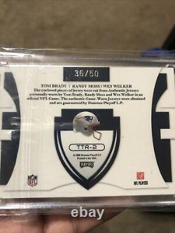 Tom Brady Randy Moss Wes Welk Patriots team patch 2008 Donruss #36/50 very rare