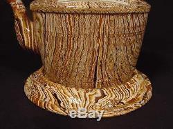 VERY RARE 1800s AGATEWARE PRESENTATION TEA POT AGATE MOCHAWARE YELLOW WARE MINT