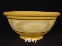 VERY RARE 1800s JEFFORDS POTTERY 14 BAND BOWL YELLOW WARE MINT