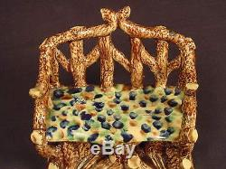VERY RARE 1800s TWIG BENCH BLUE GREEN & BROWN GLAZE WHIELDON YELLOW WARE MINT