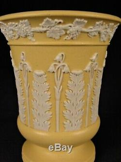 VERY RARE ANTIQUE 1800s SIGNED WEDGWOOD VASE CANE CANEWARE YELLOW WARE MINT