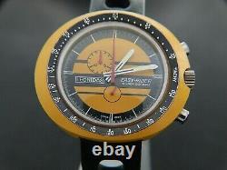 VTGE VERY RARE BIG HEUER LEONIDAS EASY RIDER YELLOW CASE CHRONOGRAPH, MINT. 70s