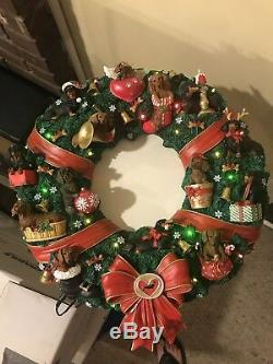 Very Good Condition In Box And Rare! Danbury Mint Dachshund Christmas Wreath