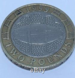 Very Rare 1999 Rugby World Cup £2 Coin With Minting Error Circulated
