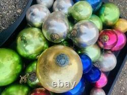 Very Rare Antique German Gold MerCury Glass Holiday Christmas Ball Kugel LOT