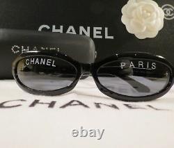 Very Rare! Authen Vintage Chanel Paris Oval Black Sunglasses #01946 Mint Cond