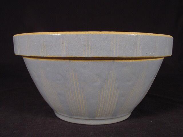 Very Rare Blue Glaze Moon & Stars Bowl Yellow Ware Mint