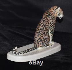 Very Rare Meissen Figurine -leopard Sitting B-247 Rudolph Loehner- Mint