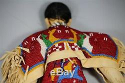 Very Rare Mint Condition BEADED PLAINS INDIAN BUCKSKIN DOLL NATIVE AMERICAN #1