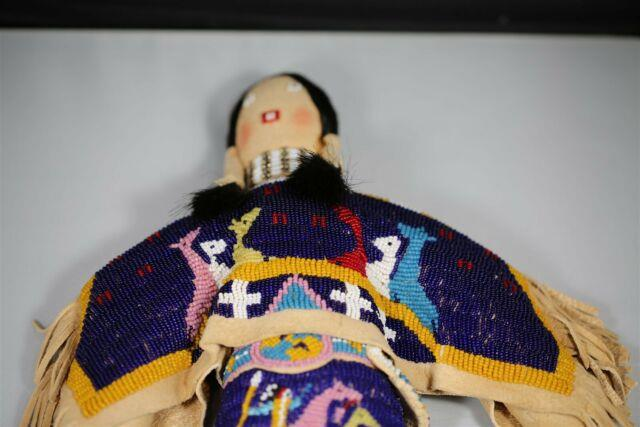 Very Rare Mint Condition Beaded Plains Indian Buckskin Doll Native American #2