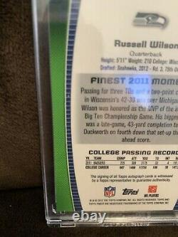 Very Rare RUSSELL WILSON 2012 Topps Finest Pulsar Refractor Rookie/Auto 6/10