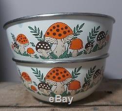 Very Rare Sears Merry Mushroom Metal Nesting Mixing Bowls Two Enamelware Lot