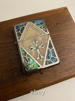 Very Rare Silver and Pearl Armour Case Cross Zippo Lighter. Unused. Mint