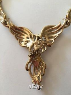 Very Rare Vintage Signed Trifari Bird Of Paradise Necklace Mint Condition
