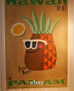 Very Rare original 1960s Pan Am Travel Poster Hawaii Near Mint 28 x 42 1962