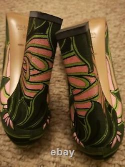 Very rare Prada runway trendy neon floral courts heels 38 UK 5 mint